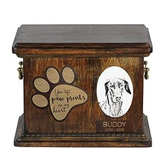 ArtDog Ltd. Dobermann, Urne für Hundeasche mit Keramikplatte und Beschreibung