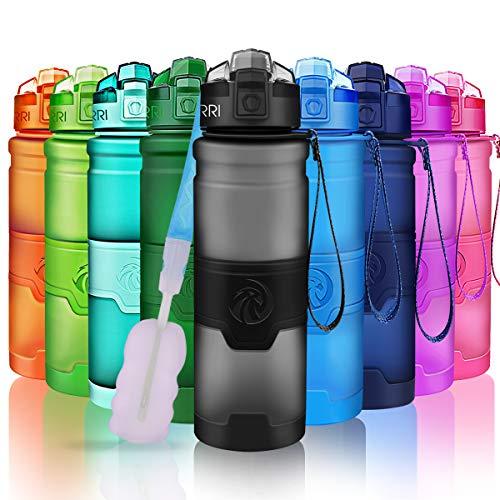 Zorri bottiglia d'acqua sportiva senza bpa - riutilizzabile borraccia in plastica tritan 500ml/700ml/1000ml, ideale bottiglie per bambini, scuola, ufficio, bici, calcio, fitness, yoga