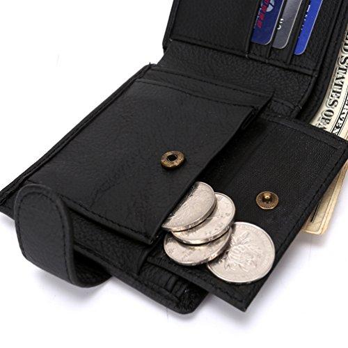 Yateer-Herren Designer Original Echt Weich Leder Brieftasche Mit Groß Reißverschluss Münztasche Kaffee kaffee