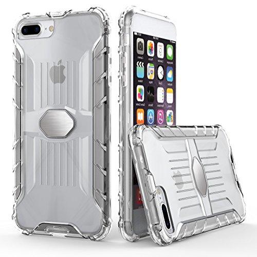 """iPhone 7 Plus Transparente Hülle,EVERGREENBUYING [Metallplatte] Abnehmbare Hybrid Schein iPhone 7+ Tasche Ultra-dünne Schutzhülle Cover Etui für iPhone 7 Plus (5.5"""") Schwarz Clear"""
