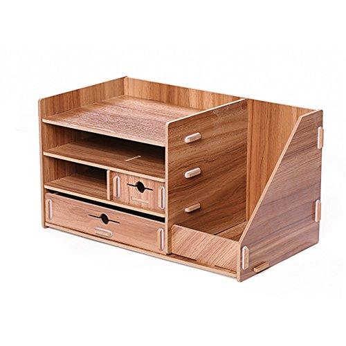 Kangsur Schreibtisch Organizer Holz DIY Multifunktions mit 4 Fächer und 2 Schubladen