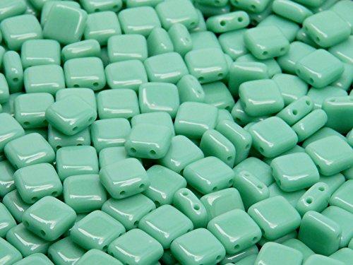 40pcs-ceco-perle-di-vetro-tile-con-due-fori-piatto-quadrata-6x6x29mm-opaque-turquoise-green