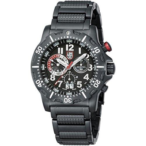 Luminox Men's 45mm Black Steel Bracelet IP Steel Case S. Sapphire Quartz Chronograph Watch 8362.RP