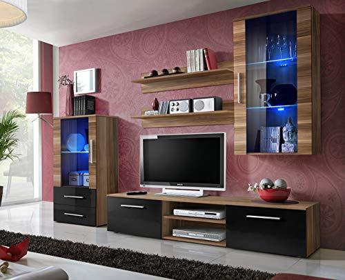 all4all Wohnwand mit LED Beleuchtung Hochglanz TV Board Sideboard Mediawand Fernsehwand Fernseherschrank Wohnwände Mobelwand Wohnzimmerwand Möbelwand GJ 21