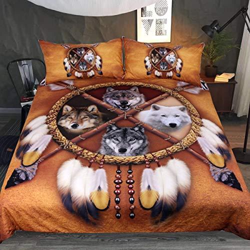 Sleepwish Native American Wolf Dreamcatcher Betten Golden Brown indischen Bettbezug Vintage Feder Bettwäsche Cover Set, braun, Queen (Queen-betten Vintage)