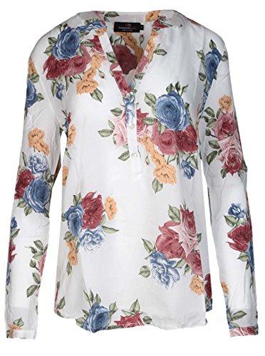 38744caf88be Zwillingsherz Bluse Damen Blumen Sommer Oberteile - Hochwertige Schöne und luftige  Tunika Chiffon Blusen für Frauen - Elegantes Langarm Hemd T-Shirt ...