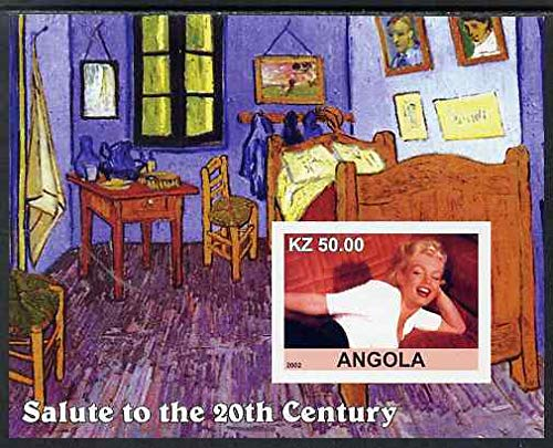 Angola 2002 Salute to the 20th Century #07 imperf s/sheet - Marilyn & Painting by Van Gogh, u/m PERSONALITIES FILMS CINEMA MOVIES MUSIC ARTS JandRStamps -