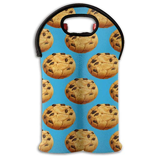 Chocolate Cookies Two Bottle Wine Carrier Tote Bag Neoprene Wine/Water Bottle Holder Keeps Bottles Protected