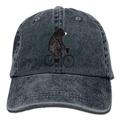 Apple Cotton Cap (Vidmkeo Unisex Ride A Bicycle Bear Apple Washed Cotton Denim Baseball Cap Dad Hut Multicolor58)