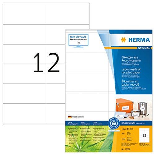 Herma 10828 Recycling Etiketten (105 x 48 mm, DIN A4 Papier matt) 1.200 St., 100 Blatt, naturweiß,...