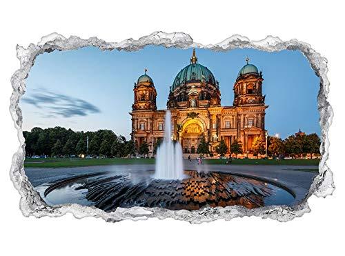3D Wandtattoo Skyline Berlin Berliner Dom Stadt Tapete Wand Aufkleber Wanddurchbruch sticker selbstklebend Wandbild Wandsticker Wohnzimmer 11P1286