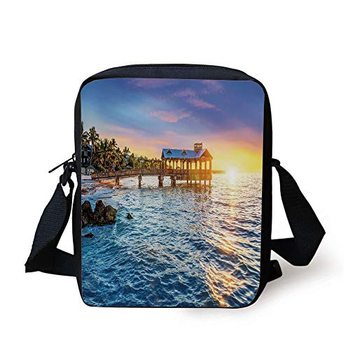 United States,Pier at Beach in Key West Florida USA Tropical Summer Paradise,Light Blue Yellow Green Print Kids Crossbody Messenger Bag Purse -