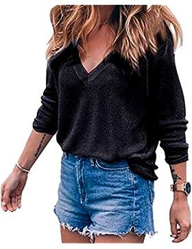Meyison Damen V Ausschnitt Casual Shirts Knit Pullover Tops