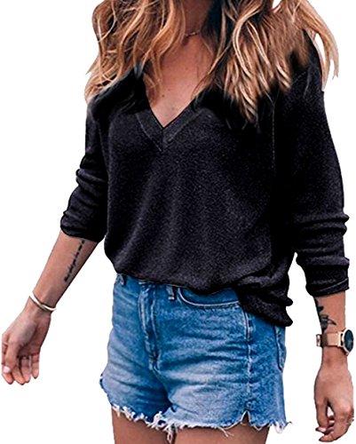 Meyison Damen V Ausschnitt Casual Shirts Knit Pullover Tops Schwarz-M
