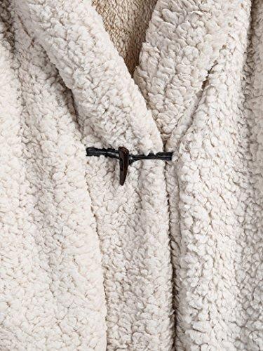 ROMWE Damen Kapuze Mantel mit Fledermausärmel Flaumischig Winter Parka Beige