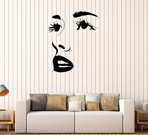 Wandaufkleber Gesicht Augen Lippen Schönheitssalon Aufkleber Ankünfte Tapete Verkauf Wandtattoo Wasserdichte Wandbild 73X87 Cm