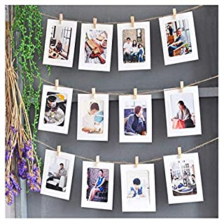 Photo Display string and pegs - DIY Picture Frames Collage Includes 30 Meter Jute Twine,100 Wood Clips and 10 non-trace nail for Hanging Photos Prints Artwork Xmas Decor