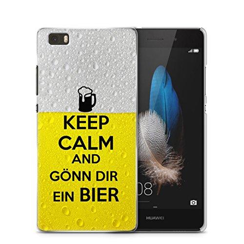 Preisvergleich Produktbild Keep Calm And Gönn Dir Ein Bier Huawei P8 Lite SLIM Hardcase Hülle Cover Case Schale Fun Funny Spruch Zitat Design Quote Beer Bier Alkohol