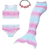 UrbanDesign Meerjungfrau Bademode Mädchen Meerjungfrau Badeanzug Schwanzflosse Zum Schwimmen Kostüm Für Kinder, 11-12 Jahre, Rosa Himmel