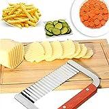 AKORD Riffelschneider-Werkzeug für die Küche zum Schneiden von Gemüse, aus Edelstahl, silberfarben