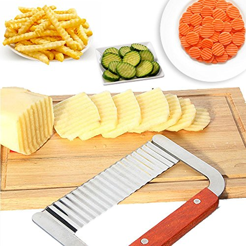 AKORD Kitchen Vegetable Crinkle Cutter Tool, Stainless Steel, Silver