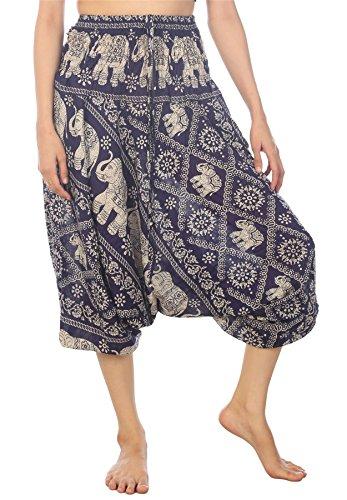 Lofbaz Mujeres Tailandés Elefante Smocked Mono Harén Pantalones Azul Oscuro L