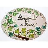 Targa da interno/esterno Ovale Dimensioni: 22 x 16 centimetri Ceramica Decorato a mano Le Ceramiche del Castello Nina Palomba Made in Italy