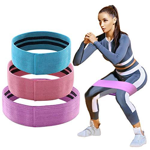 HOMOFY Widerstandsbänder für Hüft- und Booty-Bänder, weich und rutschfest, Baumwolle, für Übungen von Beinen und Hintern, Körperdehnung, Yoga, Pilates, Muskeltraining, 3 Stück 3 Stück -