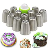 Feleph Cake Decorating Set Russian Icing Piping Nozzles Frosting Flower Piping Nozzles Decorations Tools Set and Bag for Cupcake 12 Pcs/Set, Stainless Steel Large Size Russian Piping Tips (Silver)