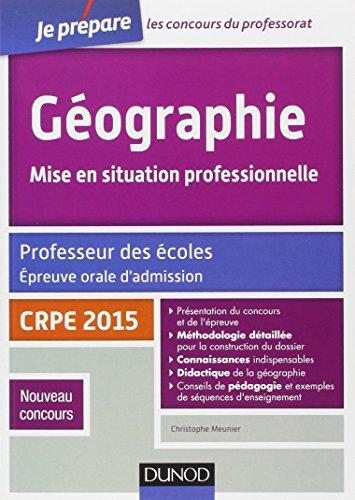 Géographie. Professeur des écoles. Oral admission - CRPE 2015