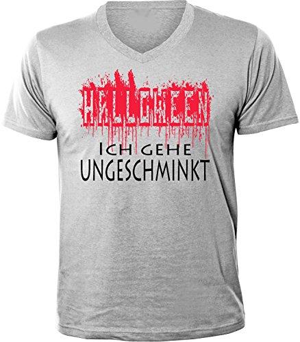 Mister Merchandise Herren Men V-Ausschnitt T-Shirt Halloween - Ich gehe ungeschminkt Tee Shirt Neck bedruckt Grau