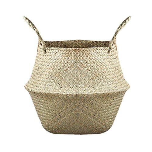 Natürliche Seegras Woven Storage Pot Garten Blumenvase Hängenden Korb mit Griff Lagerung aufgebläht Korb, XXXL (Hängende Lagerung-körbe)