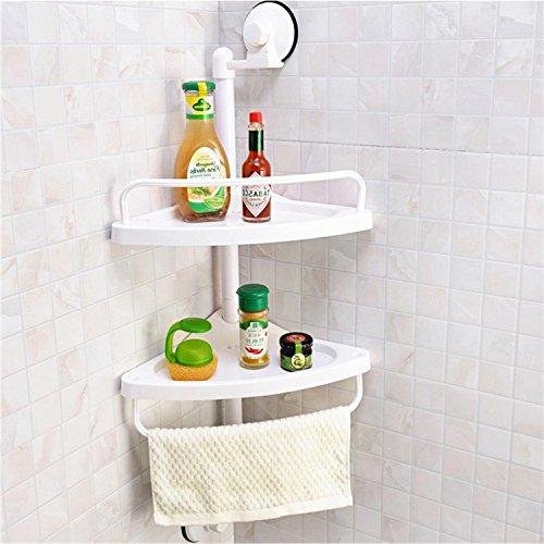 Qobobo® mensola angolare della lechón piattaforma doccia doccia mensola parete della piattaforma riutilizzabile e senza piattaforma di bagno mensola ad angolo della mensola badablage di cava, con 2vassoi permeables al acqua