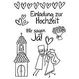 Efco Stempel Clear Einladung zur Hochzeit, transparent, A7/ 74 x 105 mm, 7-teilig