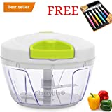 #7: Classvilla High Quality Manual Handy Vegetable Chopper Cutter For Kitchen Chipper Onion Garlic Spice Shredder Grinder Mixer Food Processor Slicer Kitchen Chopper With pull Cord Technology Premium ABS Quality Tripple Sharp Blades 500 ML Multipurpose