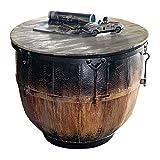 Miavilla Couchtisch Trommel - Holz Metall - Schwarz Braun - ca. 48 cm hoch 62 cm Ø