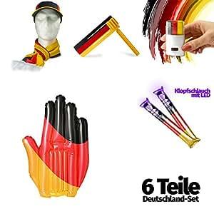 6 teiliges Fan Set für Deutschland, egal ob EM oder WM, Fanartikel zur Europameisterschaft 2016, Fanpaket Deutschland schwarz-rot-gold, Fußball-Fan-Set, wasserfeste Fanschminke