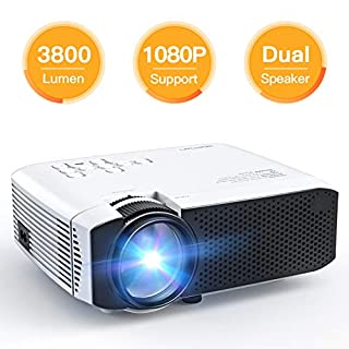 Projector, APEMAN Projector Video Mini Projector Portable Home Cinema Projector Updated LCD 3800 Lumens 45000 Hours LED Life Support 1080P HDMI/VGA/USB/ Micro SD Card/AV Input Chromecast Compatible