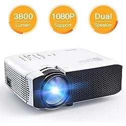 Projecteur APEMAN Mini Vidéoprojecteur 3800 Lumens Rétroprojecteur Full HD 1080P Supporté Multimédia Home Cinéma LED 45000 Heures HDMI/VGA/AV/TF/USB Compatible avec TV Box/Chromecast