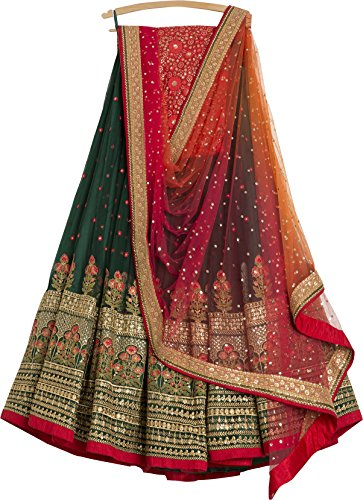 Generic Women's Silk Multi-Coloured Embroidary Lehenga cholis (lehenga_SME-04_FreeSize)