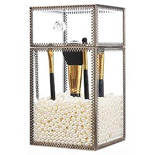 PuTwo Pinselhalter Pinsel Organizer mit weißen Perlen Vintage Pinsel Aufbewahrung Schmink Aufbewahrung aus Glas im klassischen Stil Vintage Kosmetik Aufbewahrung