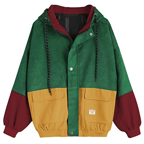 Moonuy,Damen Long Sleeve Hoodies, Damen Cord Patchwork Oversize Zipper Jacke Windbreaker Crop Mantel Lässige Mantel für Party, Beach Damen Mädchen Sweatshirt (Gelb, EU 38 / Asien L)