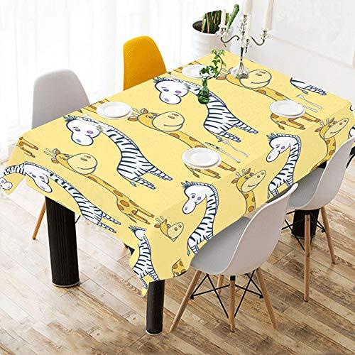 Enhusk Mexikanische Tischdecke Zebra Giraffe lustige Tier Baumwolle Print Tisch Bettwäsche Tuch Abdeckung Tischdecke für Küche Esszimmer Dekor 60 x 84 Zoll Klapptisch Bettwäsche