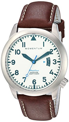 Momentum Men's 'Flatline 42' Quartz Stainless Steel and Leather Casual Watch, Color:Brown (Model: 1M-SP18LS3C)