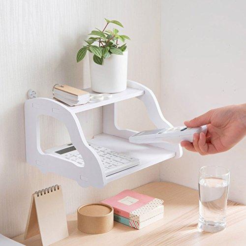 Ainstsk Wandhalterung Regal, Wasserdicht Schreibtisch Receiver Wifi Router Aufbewahrung Rack Display Halterung Halter Doppelte Wandablage (Teller-regal-wand-display)