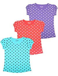 MINNOW Girls Heartin Printed Cotton Tshirt(Pack of 3)