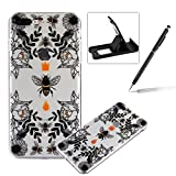 TPU Case for iPhone 7 Plus,Clear Case for iPhone 7 Plus,Herzzer Ultra Slim Stylish [Honeybee Flower Pattern] Soft Silicone Gel Bumper Cover Flexible Crystal Transparent Skin Protective Case for iPhone 7 Plus 5.5 inch + 1 x Free Black Cellphone Kickstand + 1 x Free Black Stylus Pen