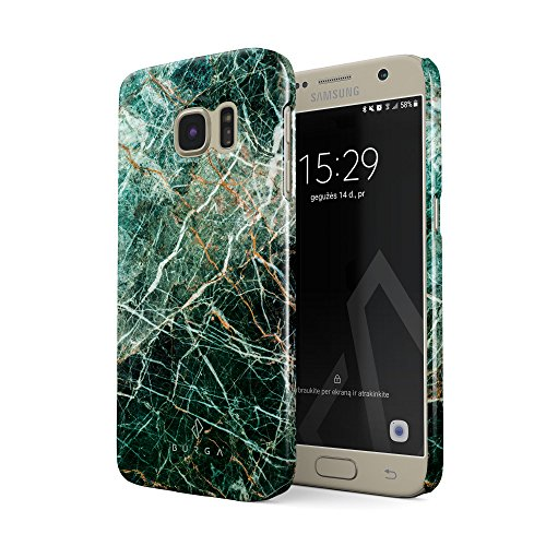 BURGA Hülle Kompatibel mit Samsung Galaxy S7 Handy Huelle Grün Smaragd Juwel Marmor Muster Green Marble Dünn, Robuste Rückschale aus Kunststoff Handyhülle Schutz Case Cover Galaxy Juwelen