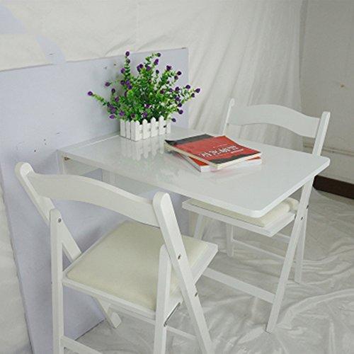 Table pliante réglable Table à Manger en Bois Massif Table Murale Table à rallonge Bureau d'ordinateur 2 Couleurs Disponibles Taille en Option Peut être tourné (Couleur : Blanc)