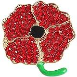 Color rojo amapola flores broche Pin con purpurina soldado esmalte enchapado de solapa Pin regalo día del recuerdo, Type 4, talla única